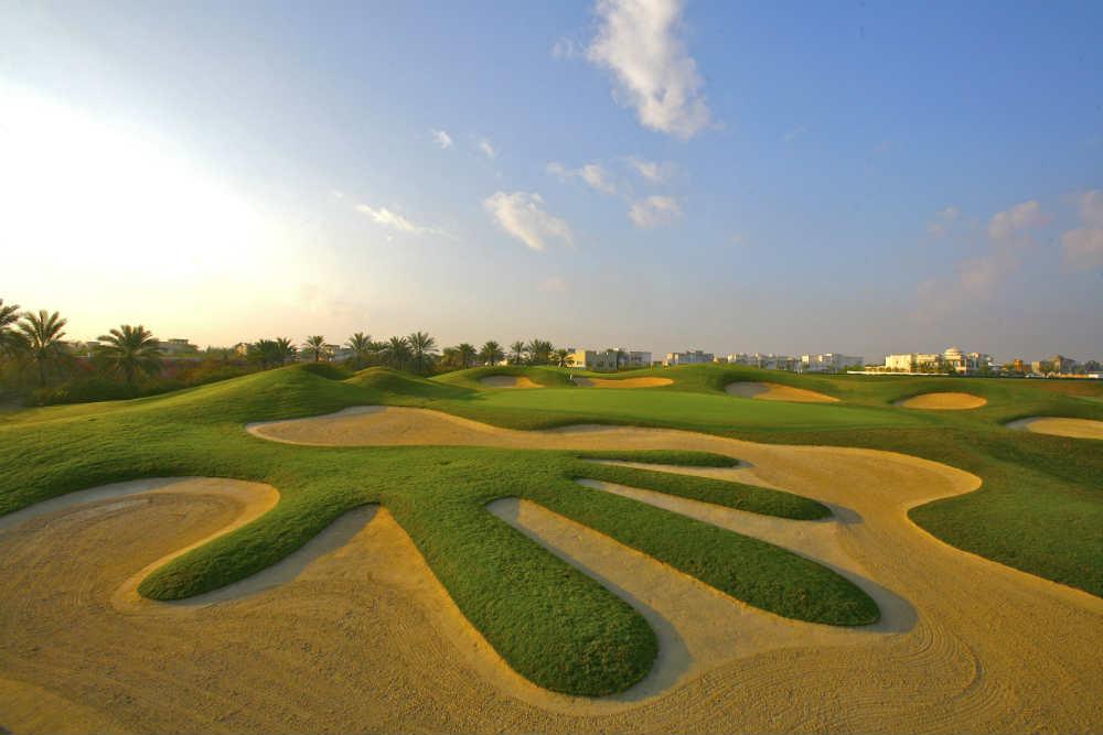 Celebre bunker du Montgomerie golf à Dubai pour votre sejours avec votre Pro